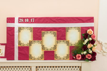Seating plan for the wedding guests with empty places for names. Arrangement of guests seating at the wedding