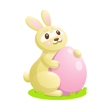 buny: Easter bunny with eggs vector illustration. Easter bunny sitting on the grass and holding an egg.