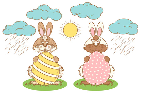 buny: Easter rabbit vector. Easter Bunny holding an egg. Rabbit with egg in the grass in the meadow.