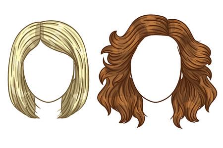 taglio di capelli delle donne vettore. styling capelli delle donne alla moda. Diversi tipi di hair styling. Bionda e bruna con i capelli lisci e ricci.
