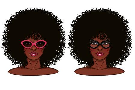Cara de la muchacha. Retrato de una niña con piel oscura. Chica de gafas. Foto de archivo - 54791628