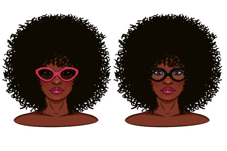 Face of girl. Portrait of a girl with dark skin. Girl in glasses.