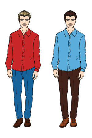 set of men hair styling: Two men. A man in a shirt and trousers. Fashionable man. Blond and brunette. Vector image of a man.