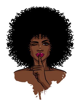 Giovani donne sexy dalla pelle scura. Ragazza afroamericana che tiene la mano vicino al suo viso. Stampa con volto femminile di pelle scura su sfondo bianco Vettoriali