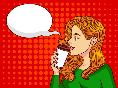 Young beautiful woman  with cup of coffee. Girl in profile of the European type with speech bubble on background of pop art style