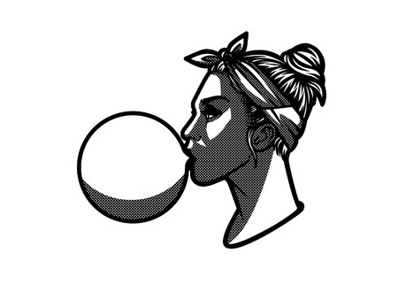 Teenage girl  with bubble gum. Black and white logotype of young woman in profile. Sticker with girl in halftone style