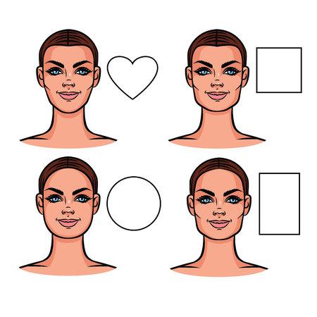 顔型のベクター イラストです。外観の様々 なタイプの女性の顔。