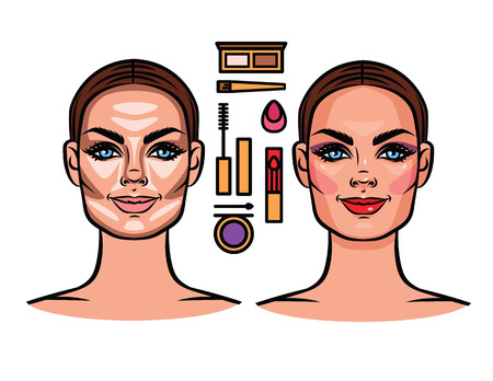 contoured: Vector illustration of a woman face contoured. Contouring, make-up, make-up tools.