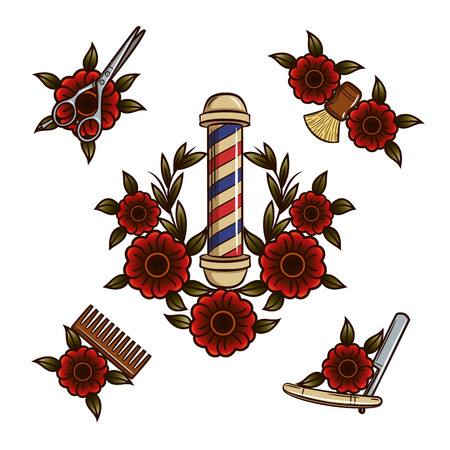 Tools for barbershop. Vector illustration of flowers and tools for mens haircuts in a hipster style Illustration