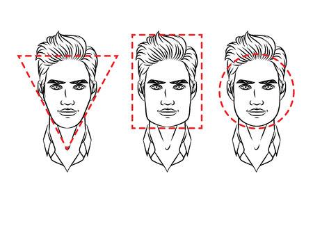 Ilustración vectorial de tipos de rostro. Cara masculina de varios tipos de apariencia Ilustración de vector