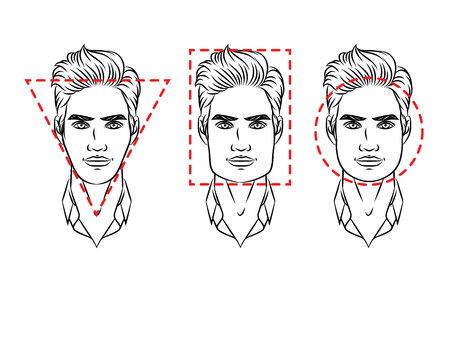 Ilustracja wektorowa typów twarzy. Męska twarz o różnych typach wyglądu Ilustracje wektorowe