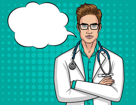 Vector portrait of a young doctor with glasses. A male doctor with a stethoscope holds his hands on his chest. A man in a medical robe over the halftone background