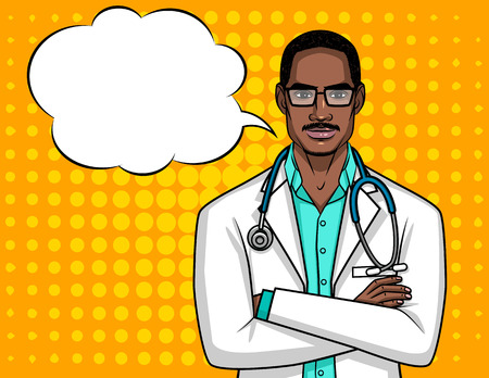 Vector portrait of a doctor with glasses. A male doctor with a stethoscope holds his hands on his chest. A Afro American guy doctor in a medical robe over the halftone background Иллюстрация