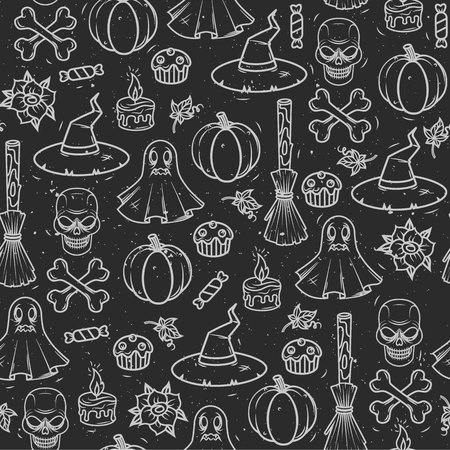 Seamless vector pattern for Halloween. Seamless print, wallpaper, background with the image of objects in the style of Halloween