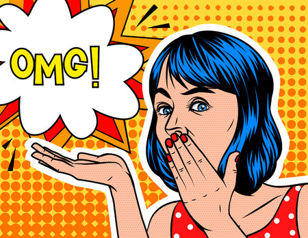 communication cartoon: A Girl  in shocked emotion. Woman holds a hand near the mouth . The girl  in surprise. Speech bubble with OMG! text on background of pop art style Illustration