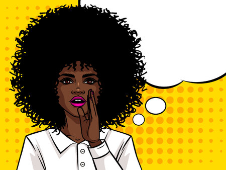 Young attractive Afro american girl wants to tell a secret. Portrait of a woman  and curly hair. Girl holding a hand near mouth.