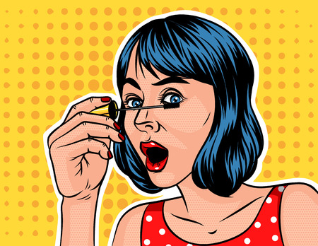 A Girl with a short hair doing make up. Woman holds a hand with mascara near the eyes. Illustration with a girl in pop art style. Illustration