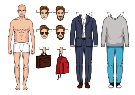Hand drawn Mens paper doll with clothes, shoes, bags and hairstyle