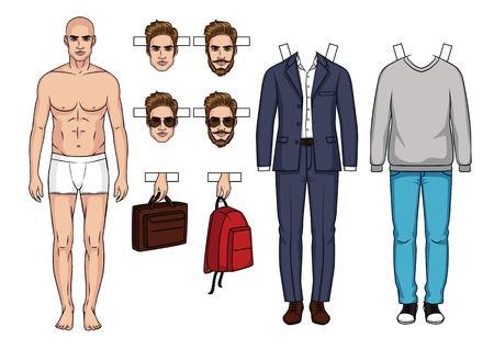 Hand getrokken mannen papieren pop met kleding, schoenen, tassen en kapsel