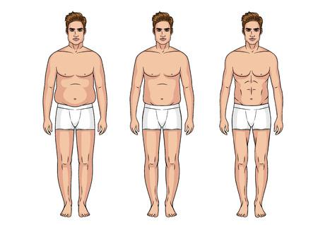 Stadia van gewichtsverlies voor mannen, sportfitness lichaam versus een dik en dik lichaam.