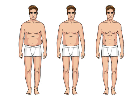 Stages of weight loss for men, Sports fitness body vs a thick and fat body.