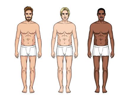Aantal mannen met verschillende nationaliteiten pictogram. Stock Illustratie