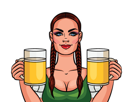 two: Girl holding two mugs of beer.