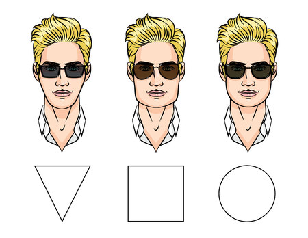 異なる顔の形のサングラスのイラスト。  イラスト・ベクター素材