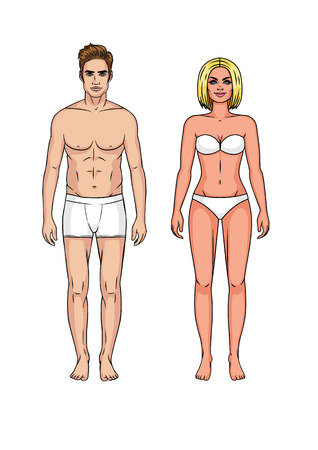 Set of man and woman in underwear. Guy and girl standing in front without clothes