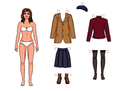 The girl in the underwear is standing in front. Paper doll and a set of warm clothes for her