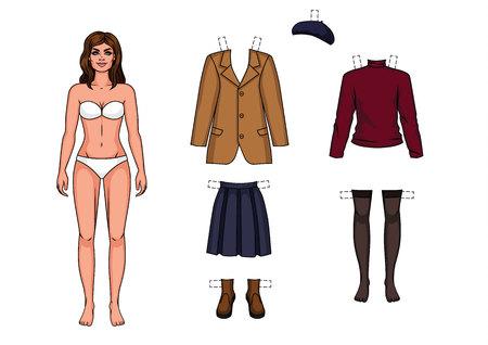 La chica en ropa interior está de pie al frente. Muñeca de papel y un conjunto de ropa de abrigo para ella