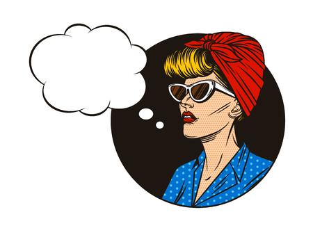 Vector pin-up meisje met tekstballon. Portret van een jonge vrouw in komische pop-art stijl