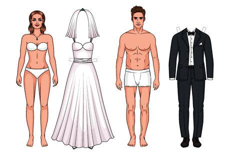 Bruidsjurk en pak voor de bruid en bruidegom.