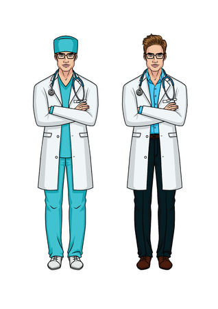 A set of two vector illustrations of male doctors in uniform. The doctor in full height crossed his arms over his chest