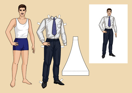 The sports guy in the underwear is standing in front. Paper doll of a businessman. Set of paper man with clothes for him