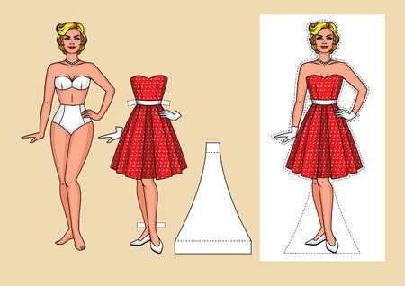 Vector set of pretty woman in underwear. Vintage dress and shoes for the party. Realistic cartoon paper doll with clothes isolated of background