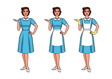 Set of vector illustration of a beautiful woman standing front. A pretty girl is pointing at something. A young woman in the style of 40-50s is dressed in an apron and gloves.