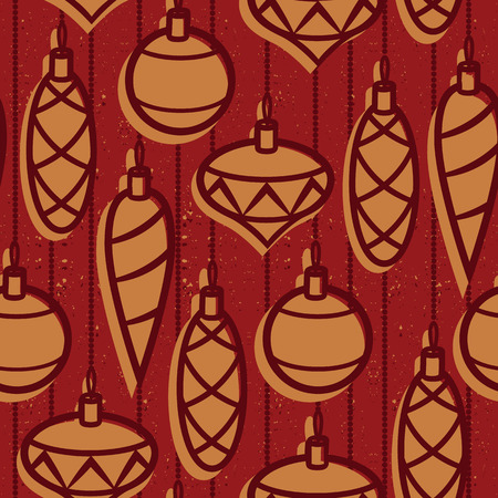 Seamless vector Christmas pattern. Vintage Christmas toys over grange texture background. New years retro style wallpaper with balls