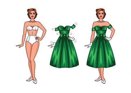 Vector illustratie van een papieren pop in een mooie jurk voor een feestje. Schoonheid in de stijl van 40-50's in ondergoed dat van achtergrond wordt geïsoleerd.
