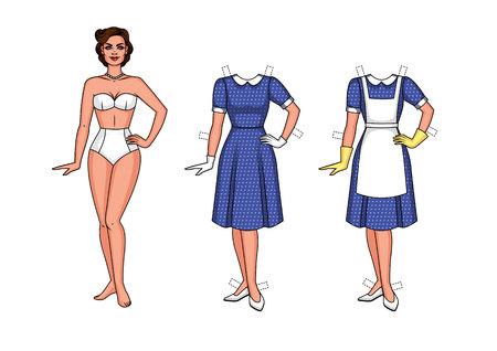 Set van illustratie van een mooie vrouw in ondergoed. Stock Illustratie