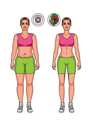 Pretty girl vector cartoon illustration  in fitness clothes with healthy and unhealthy food. Two body women types: overweight and slim. Weight loss before and after illustration.