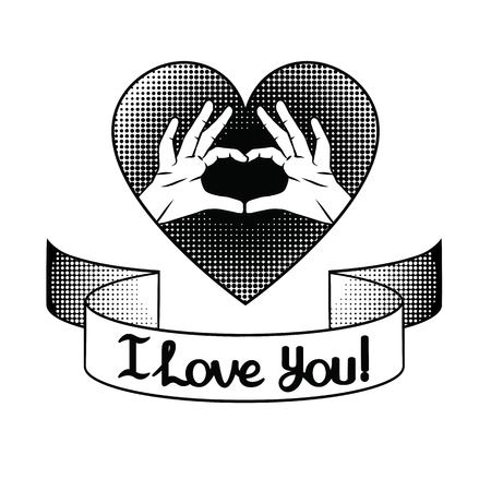 Vector hand drawn black and white illustration for Saint Valentines Day. Hands in shape of heart. Sign of love over halftone background with ribbon and lettering I love you