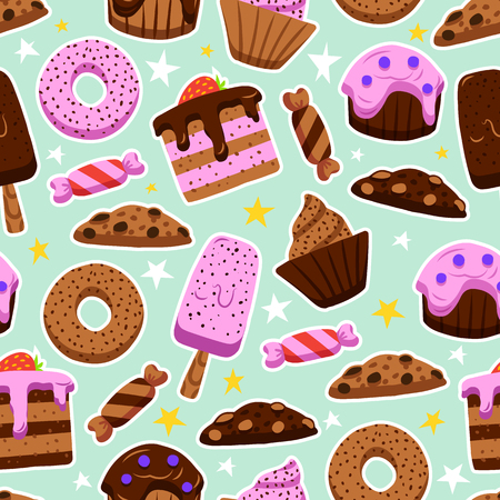 Vector seamless pattern of sweets in the doodles style. Wallpaper of cute desserts, donuts, candies, cookies
