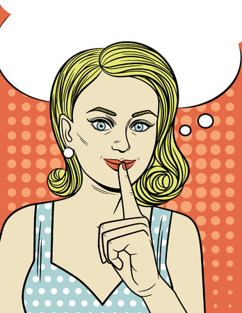 Vector illustration of an attractive girl in pop art style. A young woman holds her index finger at her mouth. Beautiful retro style girl wants to keep a secret.