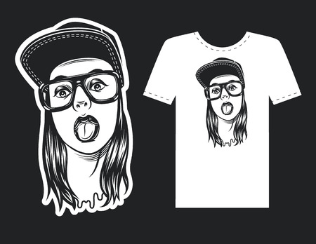 Vector hand drawn design for print with a woman wearing cap and eyeglasses.
