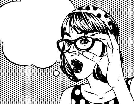 Black and white poster in comic art style of pretty girl with surprised face. Emotional woman holding a glasses. A Womans face with a speech bubble above dot pattern background
