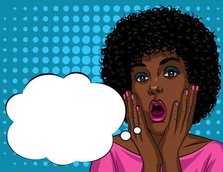Colorful illustration in pop art style of beautiful african american woman's face in shock emotions. Stressful girl's face with open mouth and hands near face Vettoriali