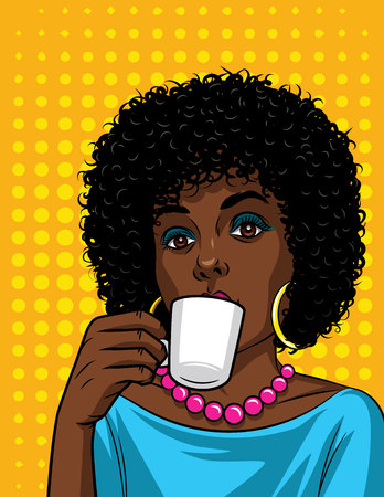 Vector illustration in comic art style of beautiful african american woman with cup of coffee. Fashionable lady drinking a coffee over halftone dot background Illusztráció