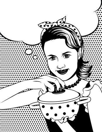 Black and white poster of a beautiful woman in comic art style holding a pot with dots pattern at the back.