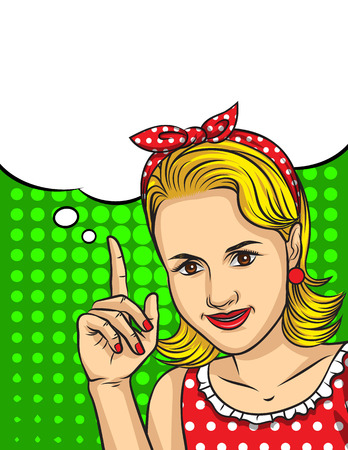 Vector retro illustration of pop art comic style of a pretty woman in red dress pointing finger up
